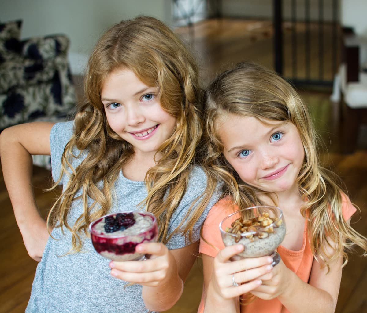 Chia pudding and two cute little girls