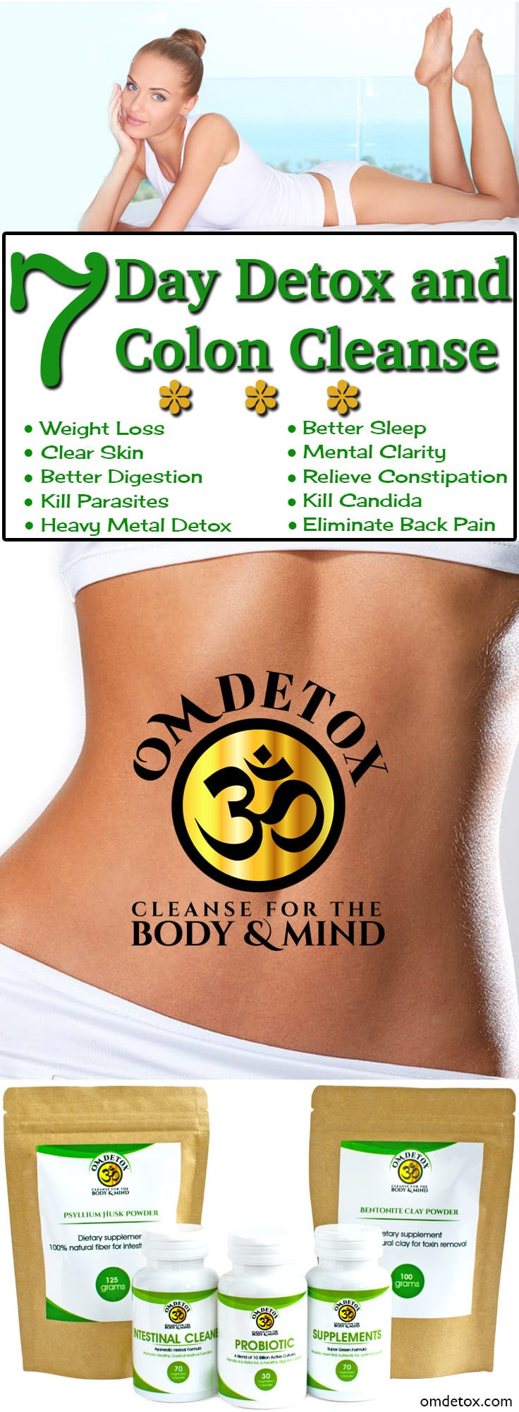 Om Detox 7 Day Detox and Colon Cleanse, For easy weight loss and parasite treatment