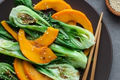 Steamed pumpkin and bokchoy