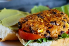 Black bean-sweet potato burger