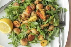 Roasted potato arugula salad