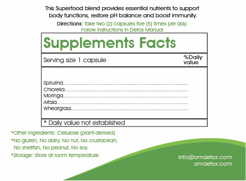 Supplements used for the 7 day weight loss detox
