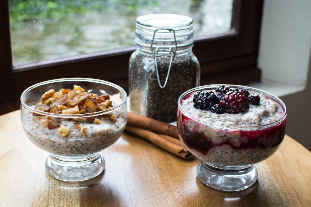 Chia seed pudding with fruit and nuts