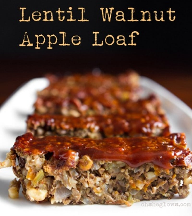 21 Vegan Christmas Recipes - Glazed Lentil Walnut Apple Loaf