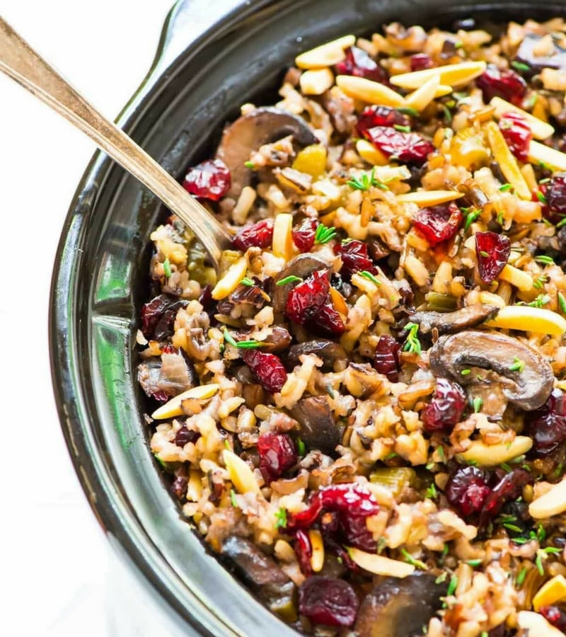 Vegan Christmas Recipes - Crock Pot Stuffing with Wild Rice Cranberries and Almonds