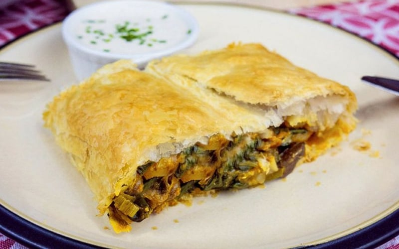 Vegan Christmas Recipes - Savory Smoked Tofu and Mushrooms Strudel