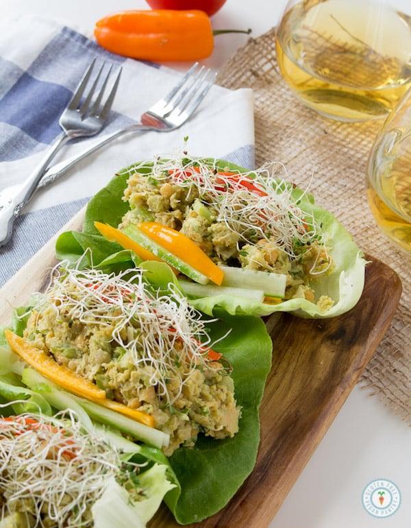OMDetox Gluten-Free Vegan - Avocado Chickpea Lettuce Wraps